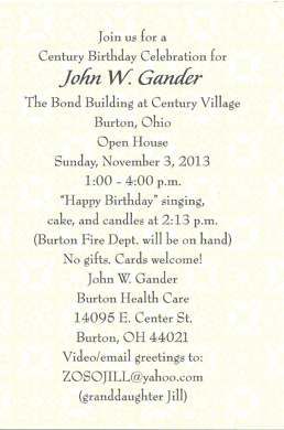 Nov 2013 newsletter - Gander-bday
